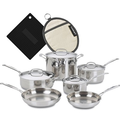 Chef's Classic Stainless Cookware 10 pc. set with Silicone Pot Holder