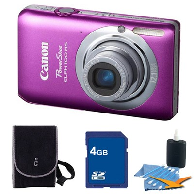 PowerShot ELPH 100 HS Pink Digital Camera 4GB Bundle