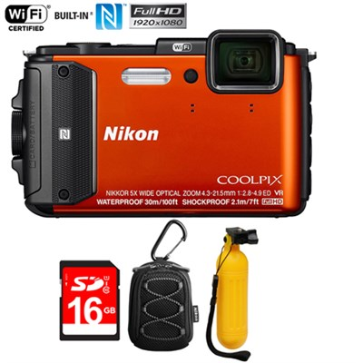 COOLPIX AW130 16MP Waterproof Digital Camera (Orange) - Refurbished