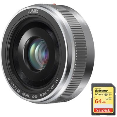LUMIX G 20mm /F1.7 II ASPH. Silver Lens w/ Sandisk 64GB Memory Card