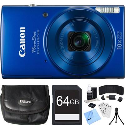 PowerShot ELPH 190 IS Blue Digital Camera w/ 10x Optical Zoom 64GB Card Bundle