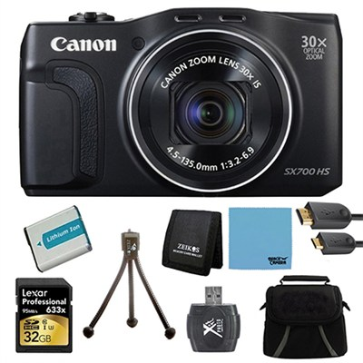 PowerShot SX700 HS 16.1MP HD 1080p Digital Camera Black Ultimate Kit