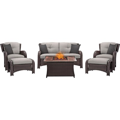 Strathmere 6-Piece Lounge Set in Silver Lining - STRATH6PCFP-SLV-WG