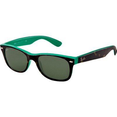 New Wayfarer  Sunglasses - Havana/Green Frame-Green Lens 55mm