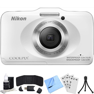 COOLPIX S31 10.1MP Waterproof Digital Camera 720p HD (White) Refurbished Bundle