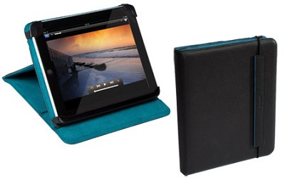 THZ022US -Truss Leather Carrying Case w/ Stand for iPad Black/Turquoise Interior
