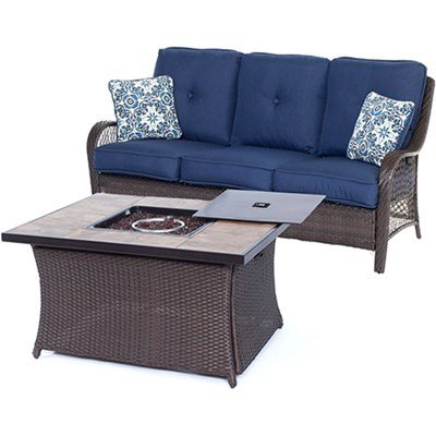 Orleans2pc FP Seating Set: Sofa Fire Pit Coffee Tbl w/PorcelainTile Top
