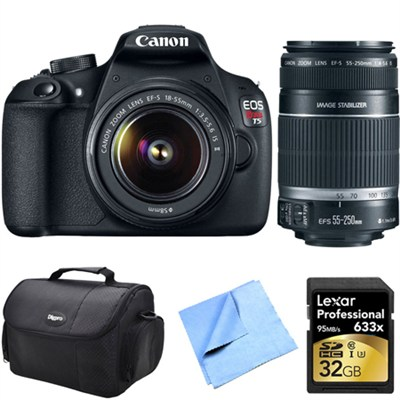 EOS Rebel T5 18MP DSLR Camera w/ 18-55ISmm & 55-250mm Lens Instant Rebate Kit
