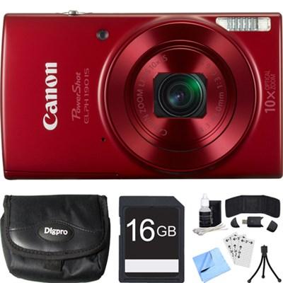 PowerShot ELPH 190 IS Red Digital Camera w/ 10x Optical Zoom 16GB Card Bundle