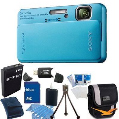 Cyber-shot DSC-TX10 Blue Digital Camera 16GB Bundle