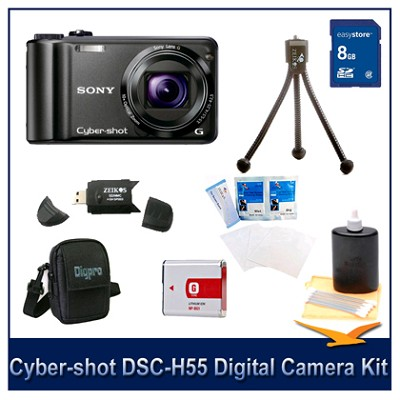 Cyber-shot DSC-H55 14.1 MP Digital Camera (Black) w/ 8GB Card, Spare Batt, More