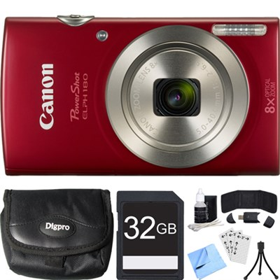 PowerShot ELPH 180 20MP 8x Optical Zoom HD Red Digital Camera 32GB Card Bundle
