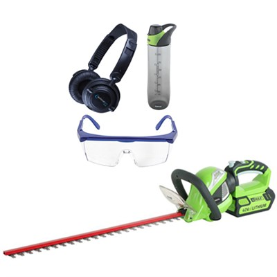 G-MAX 40V 24-inch Cordless Rotating Hedge Trimmer w/ Safety Bundle