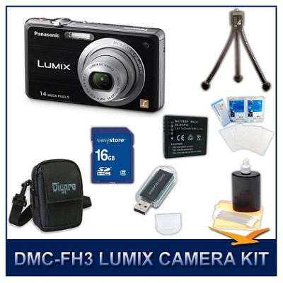 DMC-FH3K LUMIX 14.1 MP Digital Camera (Black), 16GB SD Card, and Camera Case