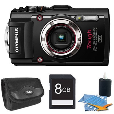 TG-3 16MP 1080p HD Shockproof Waterproof Digital Camera Black 8 GB Kit