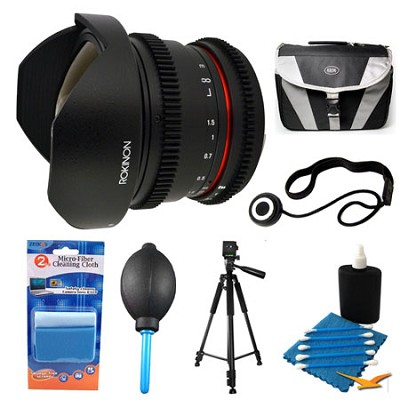 HD 8mm T3.8 Ultra Wide Fisheye Cine Lens and Case Bundle for Nikon Mount