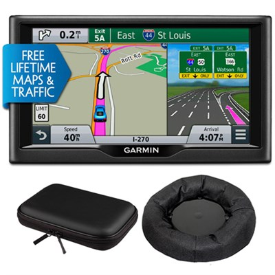 nuvi 67LMT 6` Essential Series 2015 GPS with Maps/Traffic Mount & Case Bundle