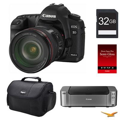 5D Mark II DSLR Camera 24-105mm Lens 32GB, Printer Bundle
