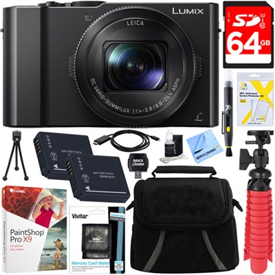 LUMIX LX10 20.1MP Leica DC Optical Zoom Digital Camera + 64GB Accessory Bundle