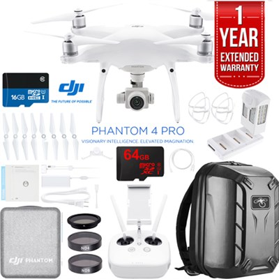 Phantom 4 Pro Quadcopter Drone + Battery Charging Hub and Custom Backpack