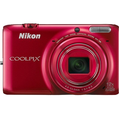 COOLPIX S6500 16 MP Digital Camera w/ 12x Zoom & Built-In Wi-Fi (Red)