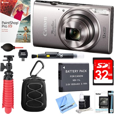 PowerShot ELPH 360 HS Digital Camera (Silver) + 32GB Deluxe Accessory Bundle