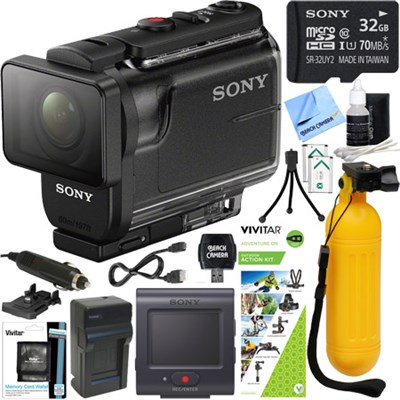 HDRAS50R/B Full HD Action Cam + Live View Remote & Outdoor Action Kit Bundle