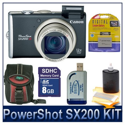 PowerShot SX200 Black Kit w/ 8G SD, Reader, Batteries, Case, and More