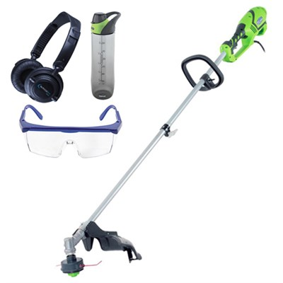 10 Amp 18-inch Split Boom String Trimmer w/ Safety Bundle