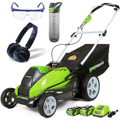 40V 19` Cordless Lawn Mower w/ HP23 Headphones, 24oz Bottle & Safety Glasses Kit