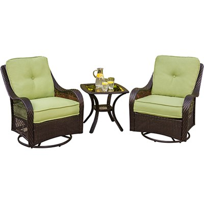 Orleans 3 Piece Outdoor Lounging Set in Avocado Green - ORLEANS3PCSW