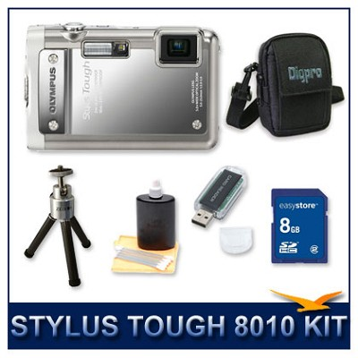 Stylus Tough 8010 Waterproof Shockproof Digital Camera (Silver) w/ 8 GB Memory