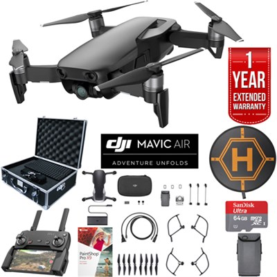Mavic Air Onyx Black Drone Extended Fly Bundle Case Batteries Extended Warranty