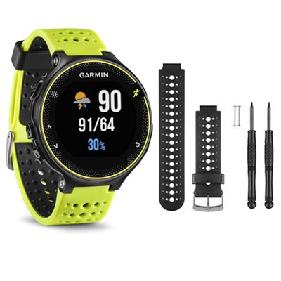 Forerunner 230 GPS Running Watch, Force Yellow - Black/White Watch Band Bundle