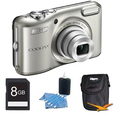 COOLPIX L28 20.1 MP 5x Zoom Digital Camera - Silver Plus 8GB Memory Kit