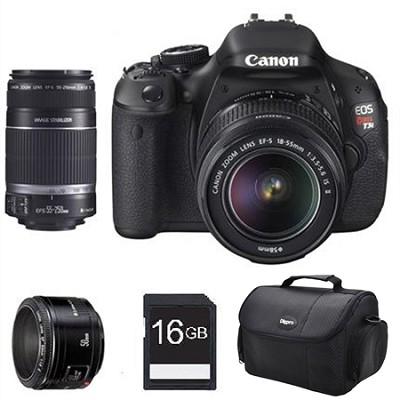 EOS Digital Rebel T3i 18MP SLR Camera w/ 18-55mm, 55-250mm IS, 50mm F/1.8 II Kit