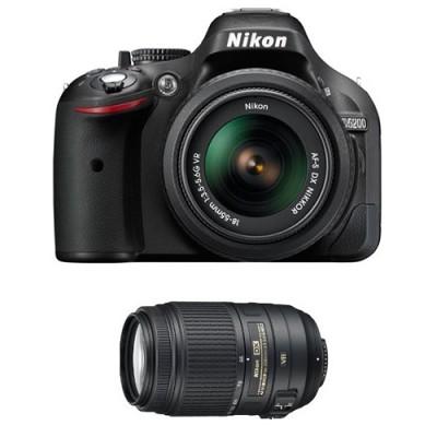 D5200 24.1 MP DSLR Camera w/ 18-55mm and 55-300 VR Lenses Bundle Deal