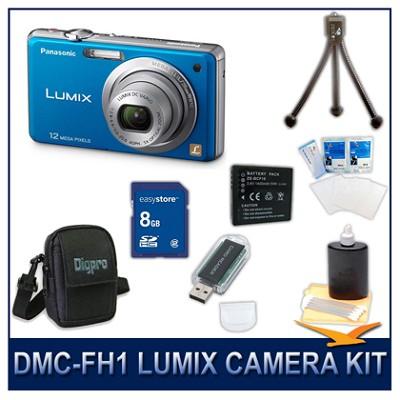 DMC-FH1A LUMIX 12.1 MP Digital Camera (Blue), 8GB SD Card, Card Reader & Case