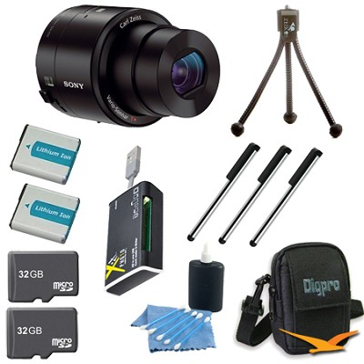 DSC-QX100/B Smartphone attachable lens-style camera Ultimate Bundle