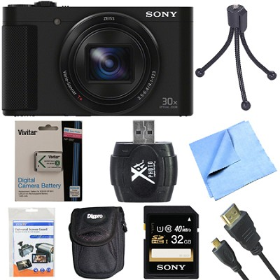 Cyber-Shot DSC-HX90V Digital Camera with 3-Inch LCD Screen Black 32GB Bundle