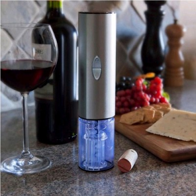 Electric Wine Bottle Opener with Foil Cutter in Matte Gray