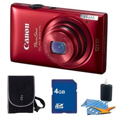 PowerShot ELPH 300 HS Red Digital Camera 4GB Bundle