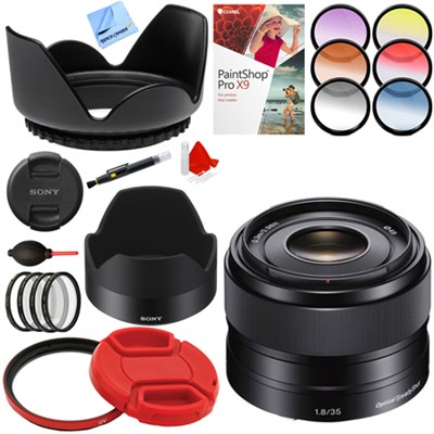 35mm f/1.8 Prime Fixed E-Mount Full Frame Lens + Accessories Bundle