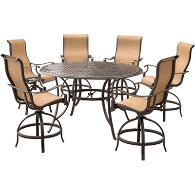 Manor 7-Piece High-Dining Bar Set with 56 In. Cast-top Table - MANDN7PC-BR