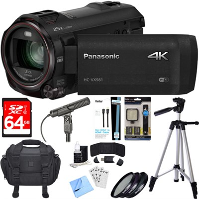 HC-VX981K 4K Ultra HD Camcorder Black Essential Accessory Bundle