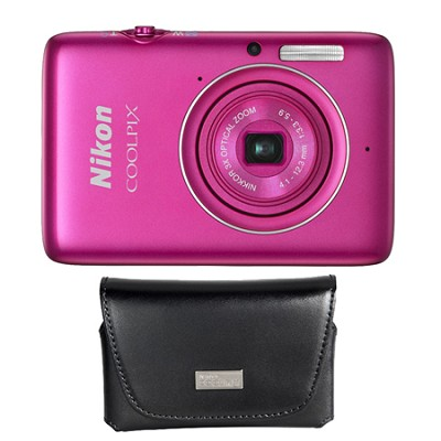 COOLPIX S02 13.2MP 3x Opt Zoom Pink Digital Camera And Custom Nikon Leather Case