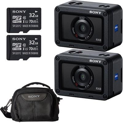 2 PACK RX0 Waterproof Wi-Fi 1.0-type Sensor Ultra-Compact Camera Accessory Kit