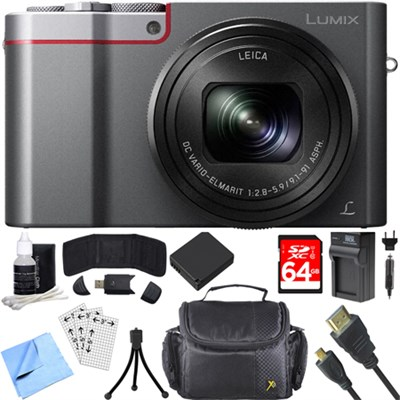 ZS100 LUMIX 4K 20 MP Digital Camera - Silver (DMC-ZS100S) 64GB SDXC Card Bundle