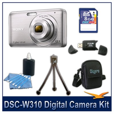 DSC-W310 Digital Camera (Silver) with 8GB Card, Case, and More
