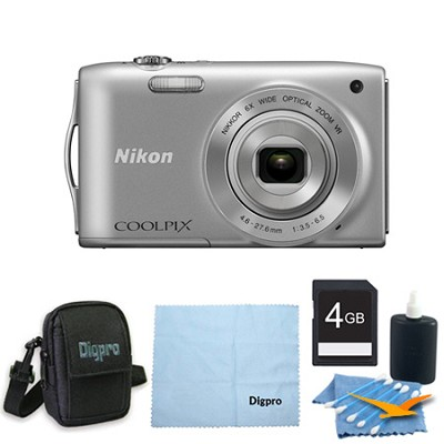 COOLPIX S3300 16MP 6x Opt Zoom 2.7 LCD 4GB Silver Bundle